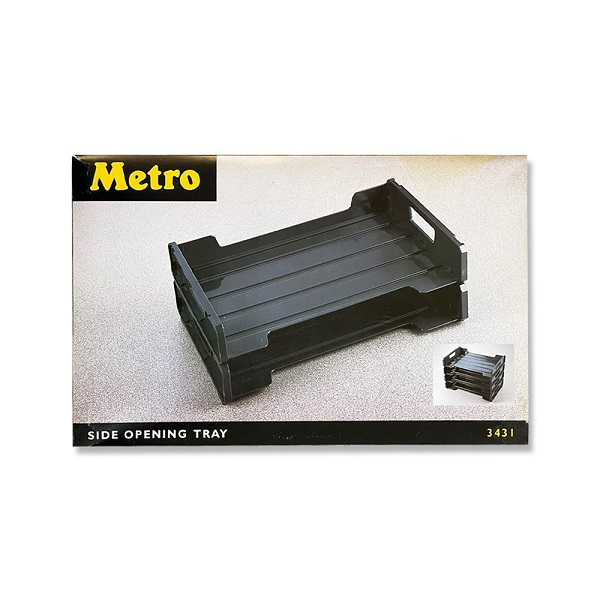 Side Opening Tray METRO 2 Tries Plastic Gray