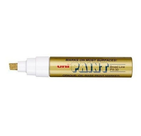 Paint Marker, Uni-Ball, PX-30, Chisel Tip, 4.0 - 8.5mm, Gold