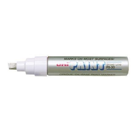 Paint Marker, Uni-Ball, PX-30, Chisel Tip, 4.0 - 8.5mm, Silver