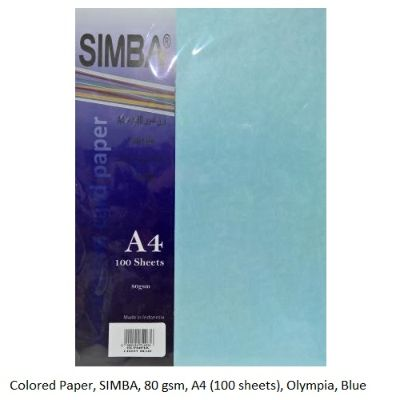 Colored Paper, SIMBA, 80 gsm, A4 (100 sheets), Olympia, Blue