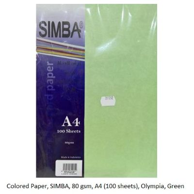 Colored Paper, SIMBA, 80 gsm, A4 (100 sheets), Olympia, Green