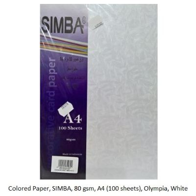 Colored Paper, SIMBA, 80 gsm, A4 (100 sheets), Olympia, White
