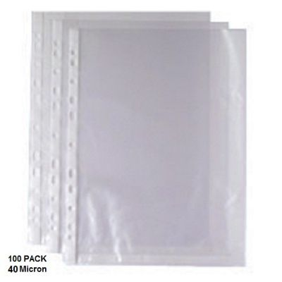 Documents Covers, SIMBA, Punched Sheet Pockets, 40 Micron, A4, Transparent, 100 PC/Pack