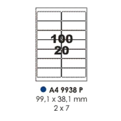 Labels, Pauli, 9938P, A4 (100sheets), 14 Label/Sheet, (99.1x38.1mm), White