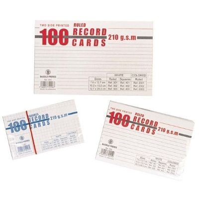 Notepad, Bassile Freres, Record Cards Lines, 240g, White, Large(12.7 x 20.3 cm), 100 PCs/Pack