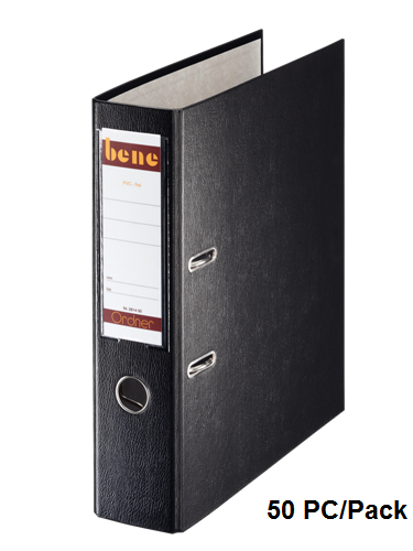 Box File, BENE, Lever Arch File, 2-Ring Binder, 50mm, A4, Plastic, Black , 50 PC/Pack