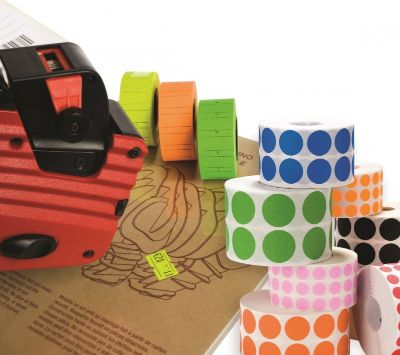 Pricing, TANEX, Price label Roll, 2 lines labeller, Green Neon, 12 Rolls/pack