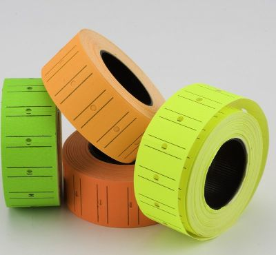 Pricing, TANEX, Price label Roll, 2 lines labeller, Yellow Neon, 12 Rolls/pack