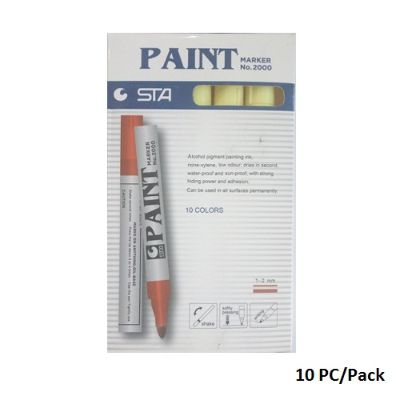 Paint Marker,STA , No.2000, Round Tip, 1-2 mm, Yellow, 10 PC/Pack