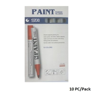 Paint Marker,STA , No.2000, Round Tip, 1-2 mm, Silver, 10 PC/Pack