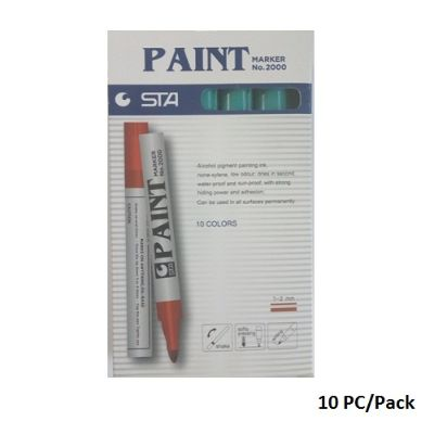 Paint Marker,STA , No.2000, Round Tip, 1-2 mm, Green, 10 PC/Pack