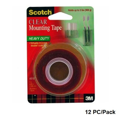 Tape, SCOTCH, 3M,Mounting Roll,Heavy Duty, 1.00 in ( 2.54 cm )X 60.00 in ( 152.40 cm ), Clear/Red, 12 PC/Pack