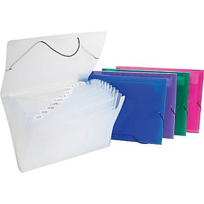 Documents Covers, SIMBA, Expanding File, 12 Pockets with Button, Red