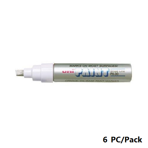 Paint Marker, Uni-Ball, PX-30, Chisel Tip, 4.0 - 8.5mm, Silver, 6 PC/Pack