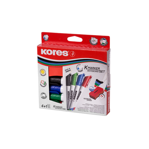 Whiteboard Marker, Kores, With Eraser , XW1, Chisel Tip, 4 Colors/Box