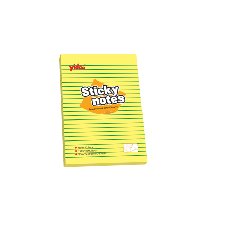 Memo Paper, YIDOO, Lined Sticky Note, (150x200mm)  A5, Yellow, 12 PC/Pack