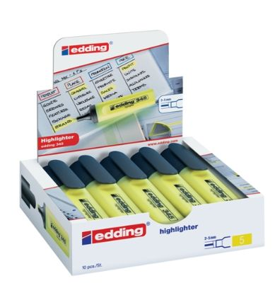 Highlighter Marker, EDDING, 2 - 5 mm, Chisel Tip, Yellow, 10 PC/Pack