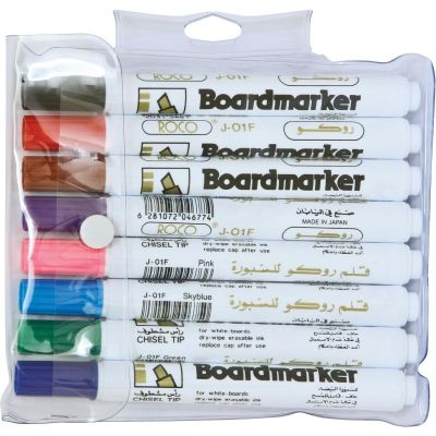 Whiteboard Marker, ROCO, 1.5 - 3 mm,  Chisel Tip, 8 Colors/Box