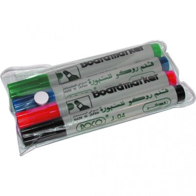Whiteboard Marker, ROCO, 1.5 - 3 mm, Round Tip, Assorted Color, 4 Colors/Box