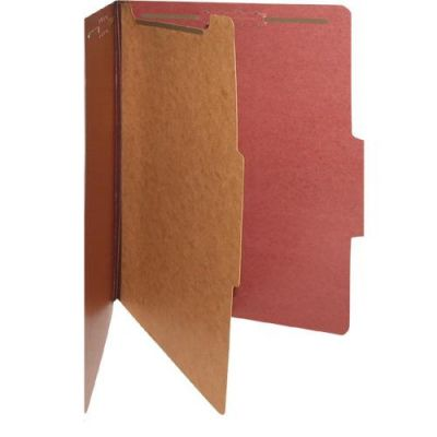 """Divider,  Smead Classification Folder, Legal Size, Single Divider,  2"""" Prong, Divider: 1"""" Twin Prong, Red"""