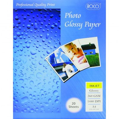 Labels, ROCO, Photo Paper (High-gloss), A4 (20 sheets), 1 Label/Sheet, 260 gsm, White