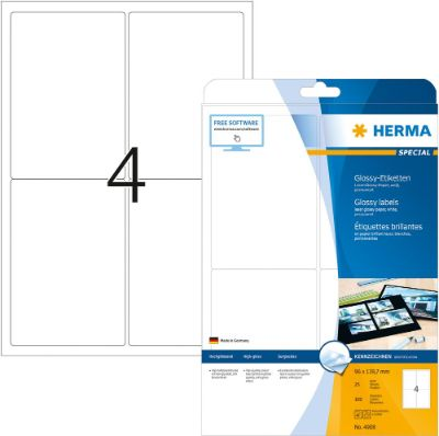 Labels, HERMA 4908, Glossy labels, 139.7 x 96 mm, white