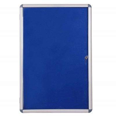 Boards, Lockable noticeboard, (60x90cm), Wall mounted, with Matching Lock and Key, Blue