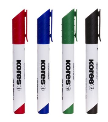Whiteboard Marker, KORES, XW2, Chisel Tip, Red, 12 Pc/Pack
