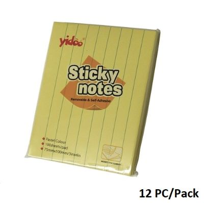 Memo Paper, YIDOO, Lined Sticky Note, (75x100mm), 100 Sheets/pads, Yellow, 12 PC/Pack