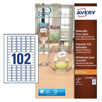Labels, AVERY, Removable Price label, 26 x 16 mm, White