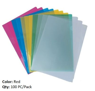 Documents Covers, MAS, Sheet Protector, 120 Micron (Light), A4, Red Transparent, 100 PC/Pack