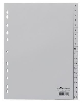 Divider, DURABLE, Index Divider, PVC, A4, 1-20 Numbers, Gray