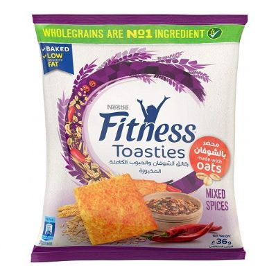 Snack, Fitness Toasties Oats Mix Spices 36 g Bag (Pack Of 12)