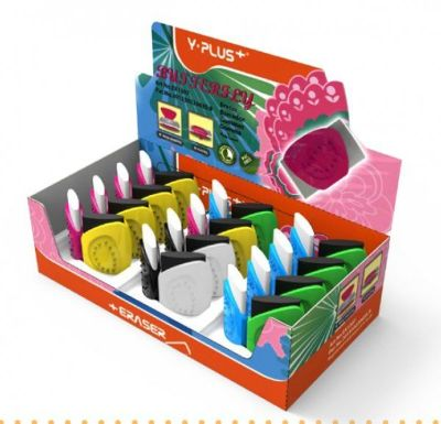 Rubber Eraser, Y-PLUS, Assorted Colors, 24 PC/Pack