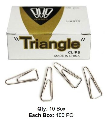 Clips, Triangle Paper Clip, 25 mm, 10 Boxes