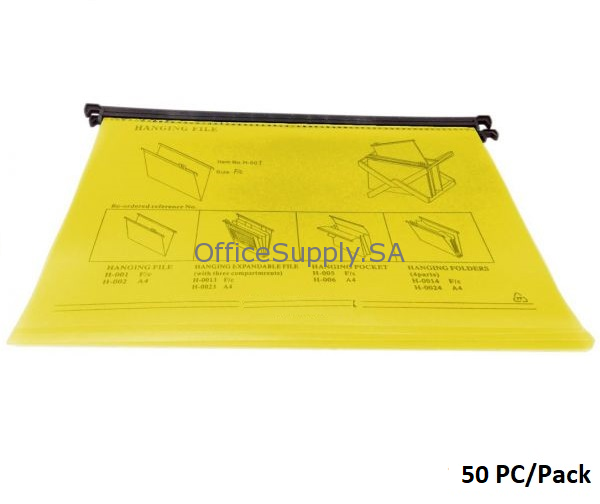 Suspension Files, F4, 1/5 Tab Cut (Removable), Plastic, Yellow,50 PC/Pack