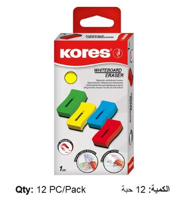 Whiteboard Erasers, KORES, Magnetic, Assorted Color, 12 PC/Pack