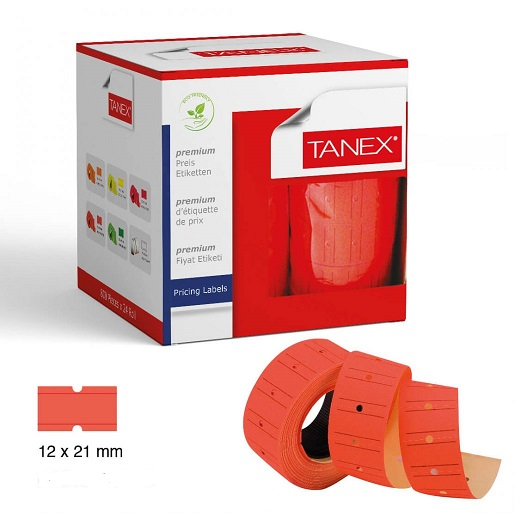 Pricing, TANEX, Price label Roll, 2 lines labeller, Red Neon, 12 Rolls/pack