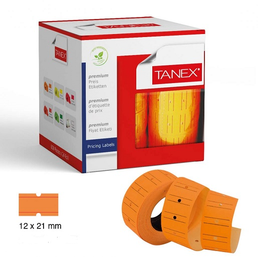 Pricing, TANEX, Price label Roll, 2 lines labeller, Orange Neon, 12 Rolls/pack