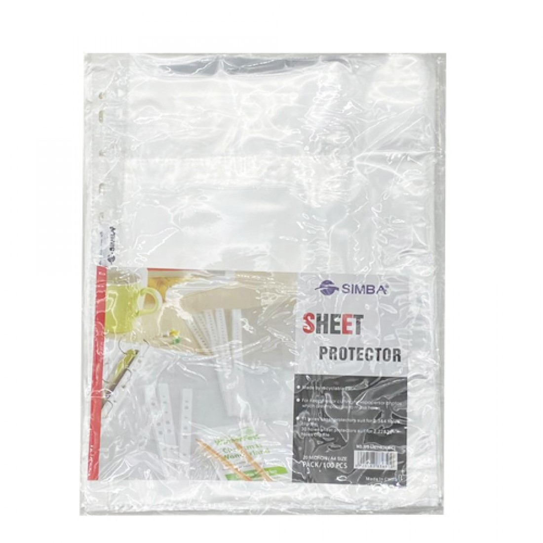 Documents Covers, SIMBA, Punched Sheet Pockets, 20 Micron, A4, Transparent, 100 PC/Pack