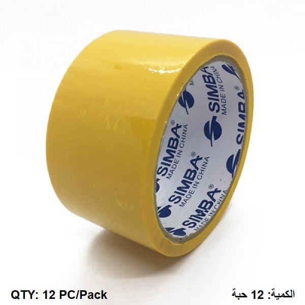 Tape, SIMBA, Plastic Packaging Tape, 2 inch (48 mm) x 40 yd ( 36.5 m), Yellow, 12 PC/Pack