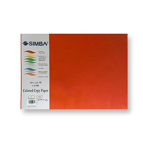 Colored Paper, SIMBA, 80 gsm, A3 (100 sheets), Colored, 10 colors ورق ملون، سيمبا، 80 جم، أ3 (100 ورقة)، ملون، 10 الوان