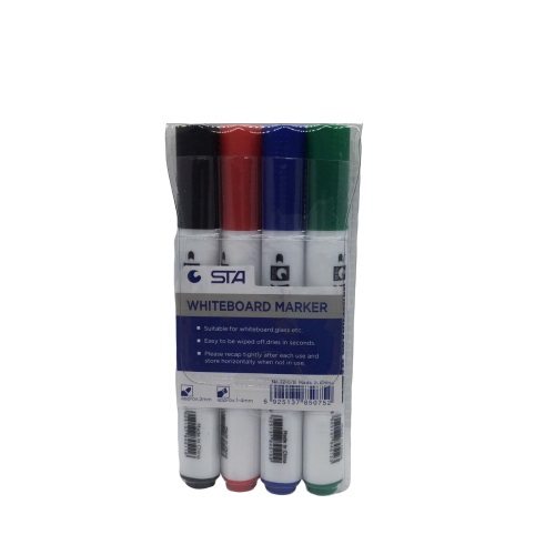 Whiteboard Marker, STA, 2 mm, Round Tip, 4 Colors/Box