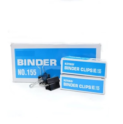 """Clips, Jingling, Binder Clips No.155 , 1 1/4"""" in ( 32mm ), Black, (Pack of 12 boxes)"""