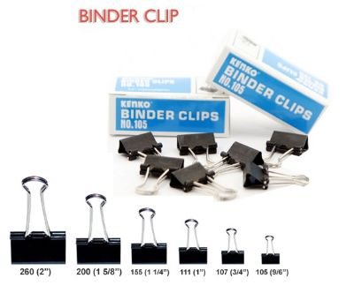 Clips, Jingling, Binder Clips , 1.60 in ( 4.06 cm ), Black, 12 PC/Pack