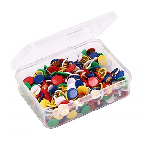 Clips, Thumb tacks, Metal, Assorted Color, 50 PC/Pack