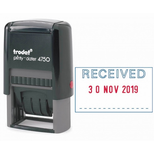 """Stamp, Trodat Printy-dater, Self Inking Stamp """"RECEIVED"""" With The Date"""