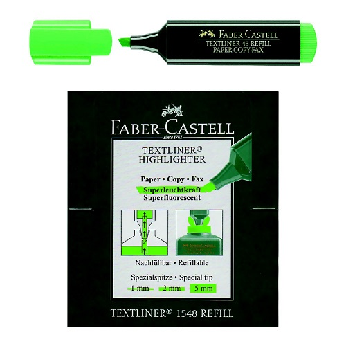 Highlighter Marker, Faber-Castell, 1 - 5 mm, Chisel Tip, Green, 10 PC/Box