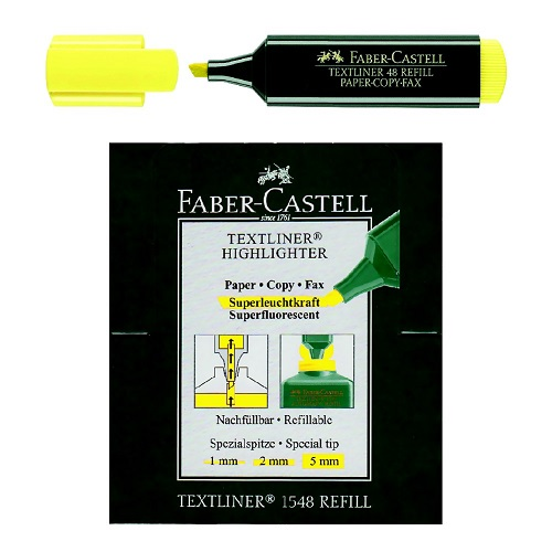 Highlighter Marker, Faber-Castell, 1 - 5 mm, Chisel Tip, Yellow, 10 PC/Box
