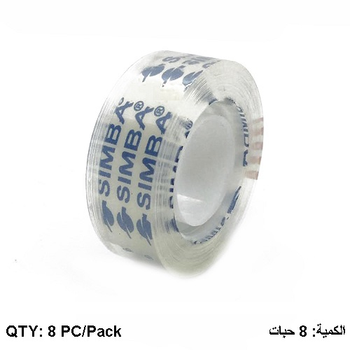 Tape, SIMBA, Crystal Packing Tape, 3/4 in ( 18mm )X 65 yd , Clear, 8 PC/Pack
